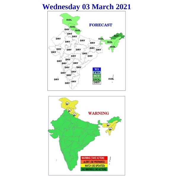 India daily weather forecast latest, March 3: Isolated rains and thunderstorms to cover Assam, Ladakh, Sikkim