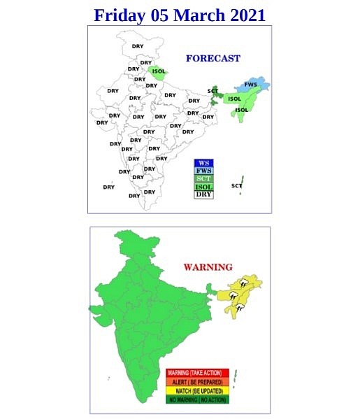 India daily weather forecast latest, March 5: Isolated rains and thunderstorms to cover Jammu & Kashmir, Assam, Sub Himalayan West Bengal