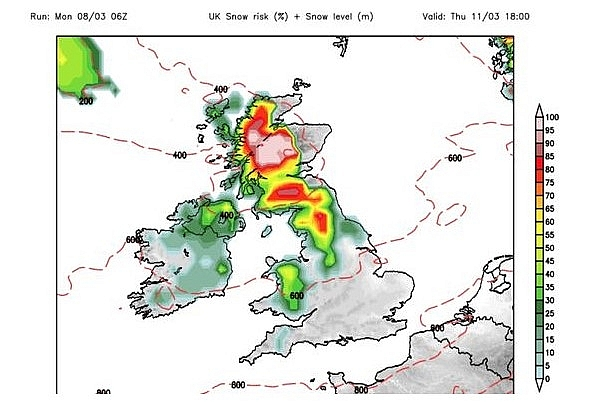 UK and Europe daily weather forecast latest, March 10: Wet and windy weather with some snow over the Scottish peaks