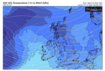 uk and europe daily weather forecast latest march 12 a breezy day with sunny spells scattered showers wintry over hills in the north