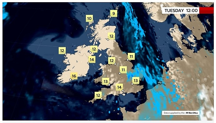 UK and europe daily weather forecast latest, march 16: milder with prolonged rain over eastern england a few showers elsewhere
