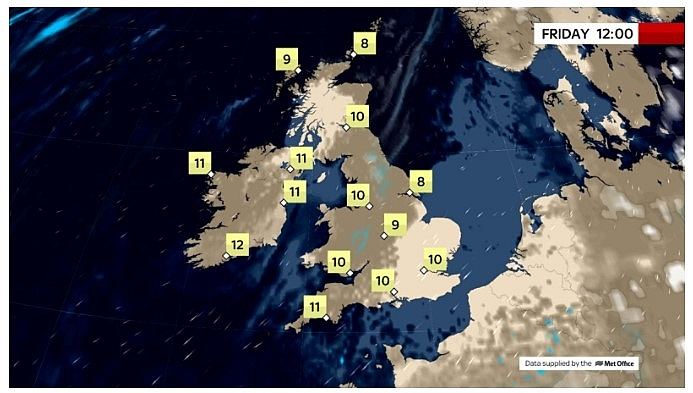 UK and europe daily weather forecast latest, march 19: fairly cloudy, less warm with morning rain over central northern england