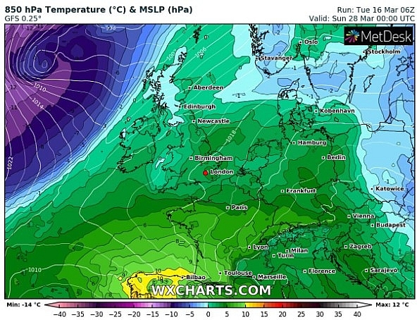 UK and Europe daily weather forecast latest, March 19: Fairly cloudy, less warm with morning rain over central and northern England