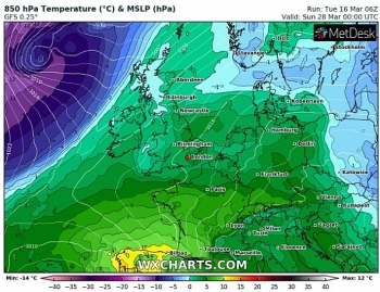 uk and europe daily weather forecast latest march 19 fairly cloudy less warm with morning rain over central northern england