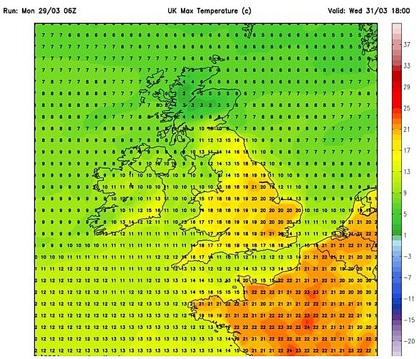 UK and Europe daily weather forecast latest, March 31: A dry and warm day with sunny spells across the UK