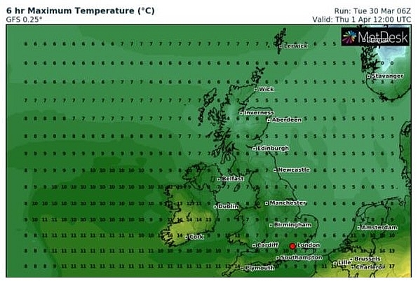 UK and Europe daily weather forecast latest, April 1: Mostly dry, with plenty of sunshine, best in the North and West of the UK