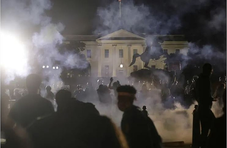 trump taken to bunker due to protest threats outside the white house