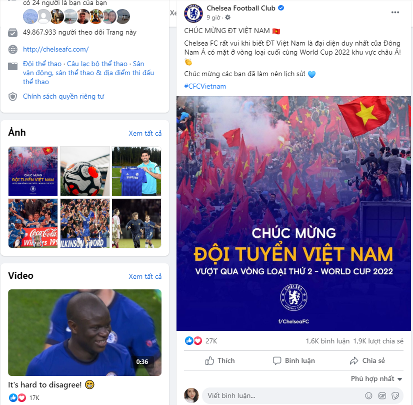 Chelsea FC congratulates Vietnam on entering the final qualifying round in Vietnamese