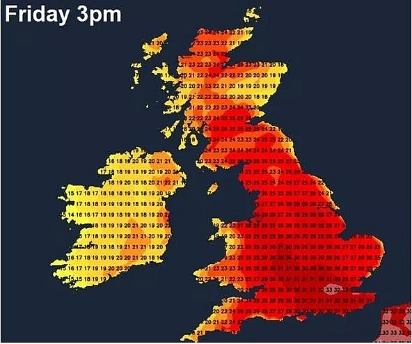 uk and europe weather forecast latest july 31 record 40c highs to bake europe