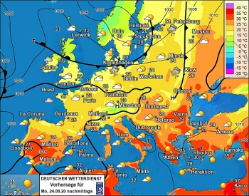 uk and europe weather forecast latest august 24 map turns blue with plunging temperatures in the uk