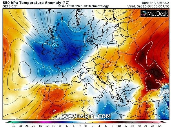 uk and europe weather forecast latest october 10 freezing air as first snow to batter britain