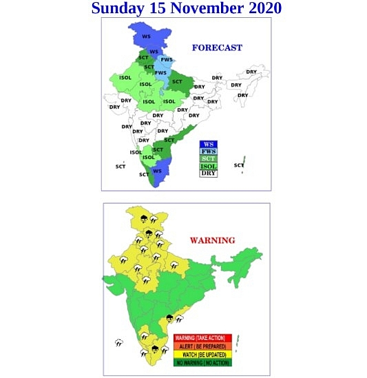 India weather forecast latest, November 15: Heavy rains set to be recorded at some places