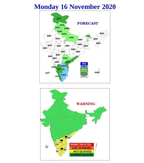 India weather forecast latest, November 16: Rain sets to improve the Air Quality Index