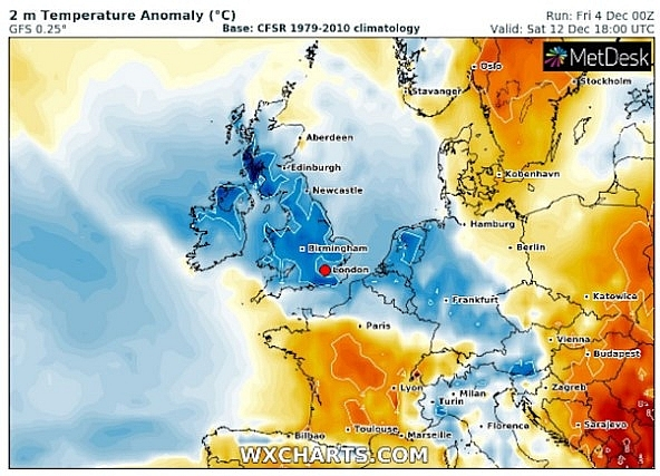 UK and Europe weather forecast latest, December 6: Weather maps turn blue with freezing temperatures leading snow