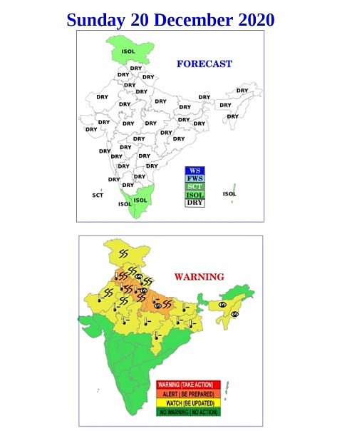 India weather forecast latest, December 20: A yellow warning for intense cold and dense fog at some places