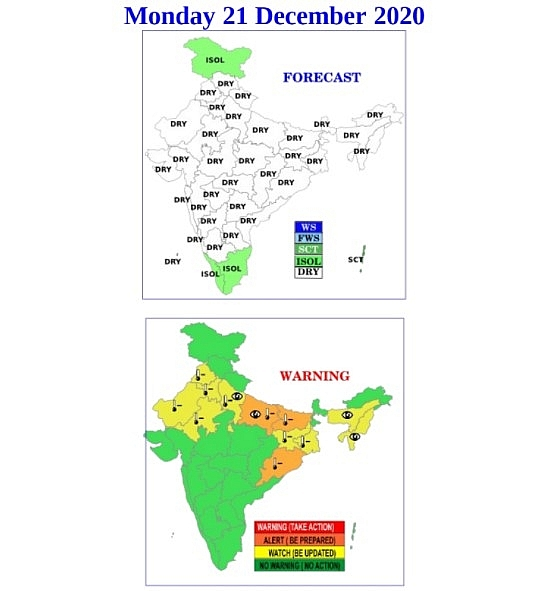 India weather forecast latest, December 21: Cold wave persists as moisture increases with dense fog