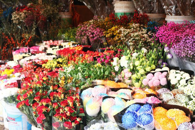 hanois largest flower market opens all nights before tet