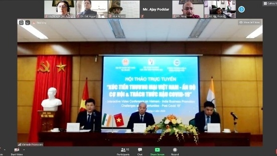 Vietnam, India discuss to promote bilateral trade in post-pandemic period on teleconference