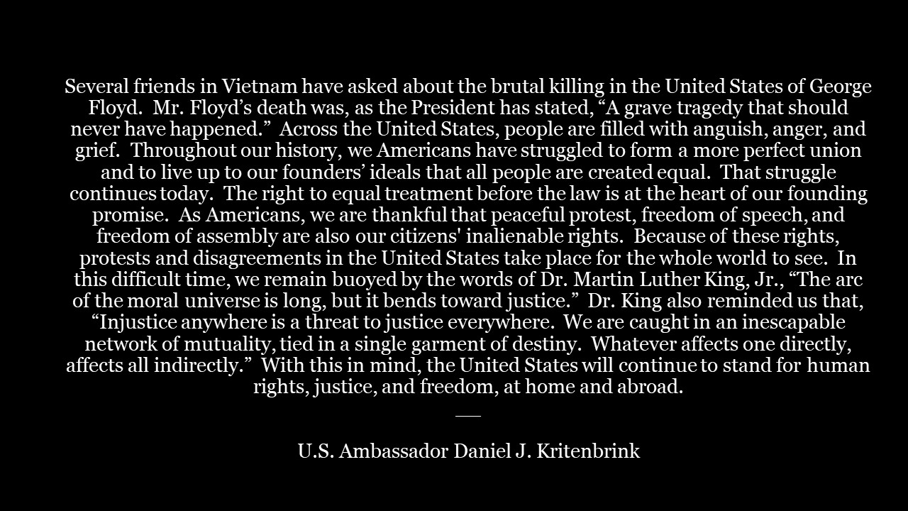 US Ambassador to Vietnam's message of his response on the