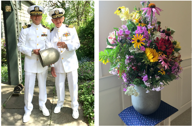 LEFT: Navy veterans Tom Wilber and his father Gene Wilber just before participating in the 2015 Memorial Day parade. RIGHT: The bullet nose from Navy pilot Gene Wilber's downed jet fighter repurposed as a flower pot at his funeral service on July 15, 2015. FAMILY PHOTO