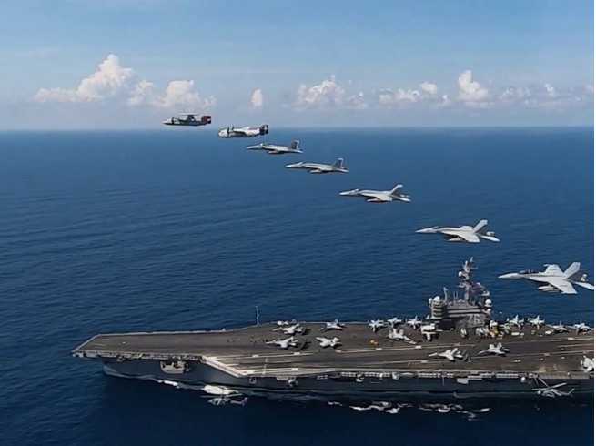 us sent two aircraft carriers many warships to the east sea south china amid chinas drills