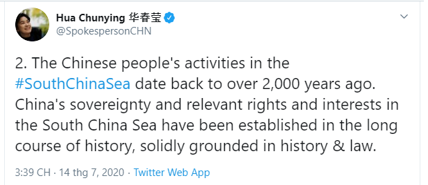chinese spokesperson hua chunying launched a series of monstrous tweets in response to us