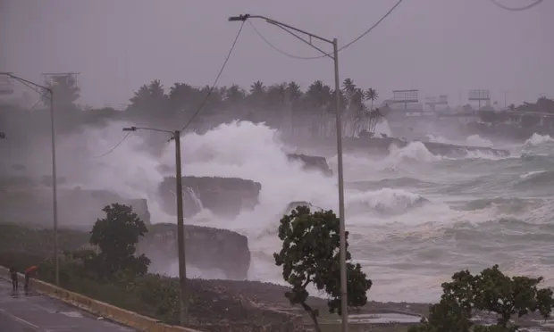 The winds of Elsa, the first hurricane of 2021 in the Atlantic basin, weakened and became a tropical storm again as it approached the island of Hispaniola, reported the US National Hurricane Center. Photograph: Orlando Barría/EPA