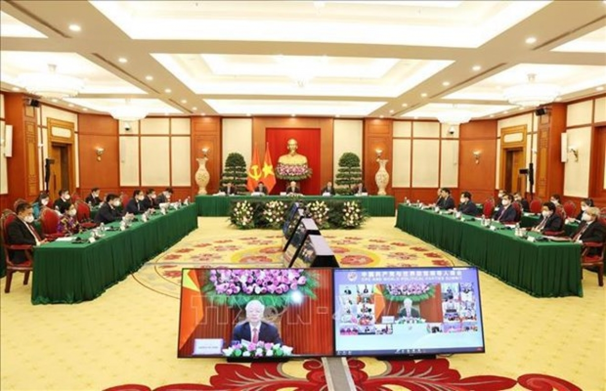 General Secretary of the Communist Party of Vietnam (CPV) Central Committee Nguyen Phu Trong led a high-ranking delegation of the CPV to attend the virtual summit of the Communist Party of China (CPC) and world political parties on July 6. (Photo: VNA)