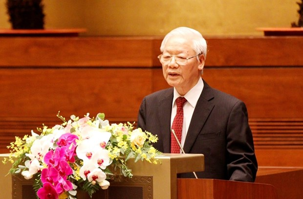 Party General Secretary Nguyen Phu Trong delivers an important speech at a national teleconference on June 12. (Photo: VNA)