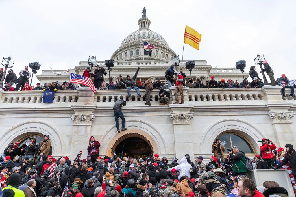 Protesters seen all over Capitol building where pro-Trump supporters rioted on January 6, 2021