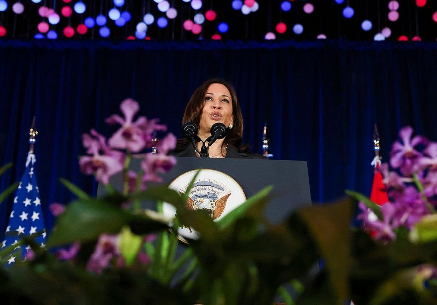 U.S. Vice President Kamala Harris delivers a speech at Gardens by the Bay in Singapore before departing for Vietnam on the second leg of her Asia trip, Aug., 24, 2021.