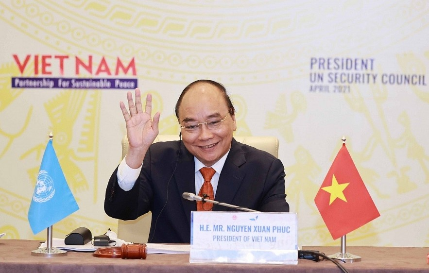 President Nguyen Xuan Phuc chairs a high-level general debate of the United Nations Security Council on April 19. (Photo:VNA)