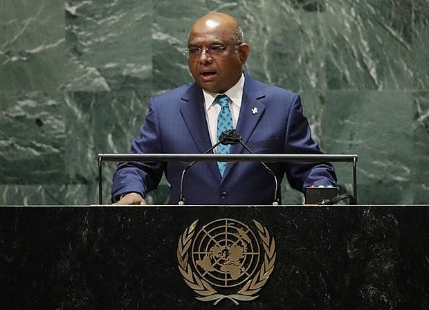 President of UNGA 76 Abdulla Shahid. (Photo: AFP)
