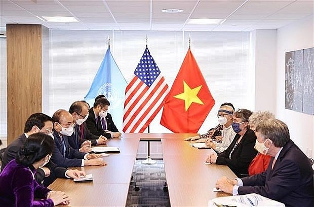 President Nguyen Xuan Phuc receives a delegation of US friends, led by Merle Ratner, Coordinator of the US-based Vietnam Agent Orange (AO) Relief and Responsibility Campaign (Photo: VNA)