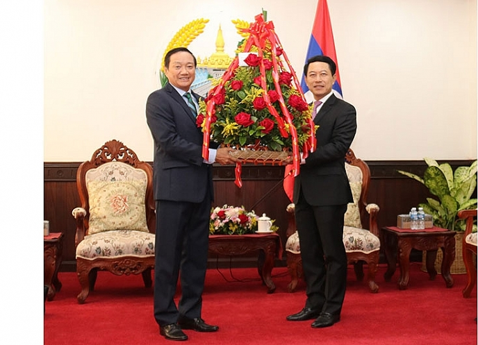 laos and vietnam get together congratulate laos 45th national day