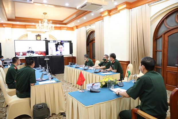 Director of the Institute for Defence Strategy Maj. Gen. Vu Cuong Quyet chairs the webinar from Hanoi. Photo: mod.gov.vn