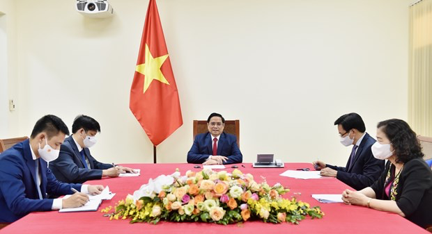 Prime Minister Pham Minh Chinh holds phone talks with WHO Director-General Tedros Adhanom Ghebreyesus. Photo: VNA
