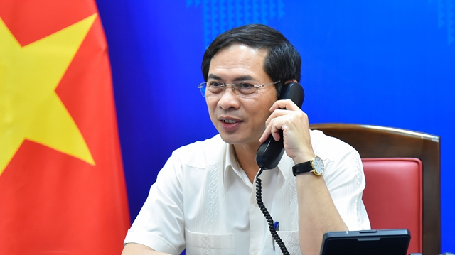Bùi Thanh Sơn, Minister of Foreign Affairs of Việt Nam, during phone talks with Norwegian counterpart Ine Marie Eriksen Soreide on Tuesday. — Photo from the Ministry of Foreign Affairs