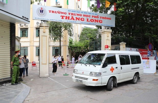 An exam centre prepares for the national high school graduation exam in Hanoi's Hai Ba Trung district. Photo: VNA
