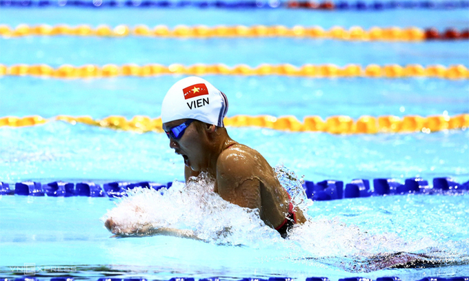 Swimmer Nguyen Thi Anh Vien at SEA Games 30 in 2019. Photo by VnExpress/Pham Duong.