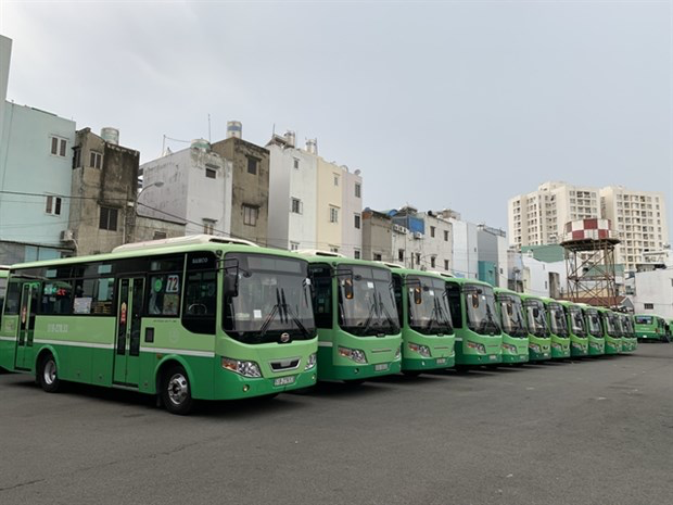 Public buses at the Mien Tay (Western) Bus Station in HCM City. All public transport in the city has been suspended for 15 days from July 9. Photo: VNA