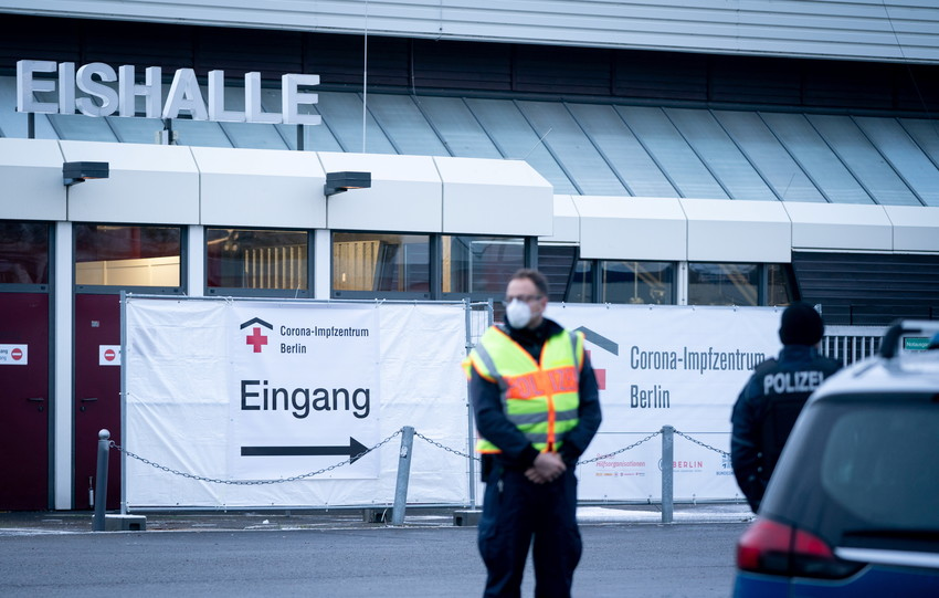 This ice rink in Berlin, Germany, is another mass vaccination site. Photo: Reuters