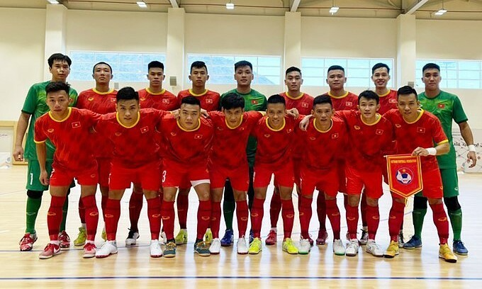 The Vietnam national futsal team that played Iraq in a friendly on May 17, 2021. Photo: Vietnam Football Federation
