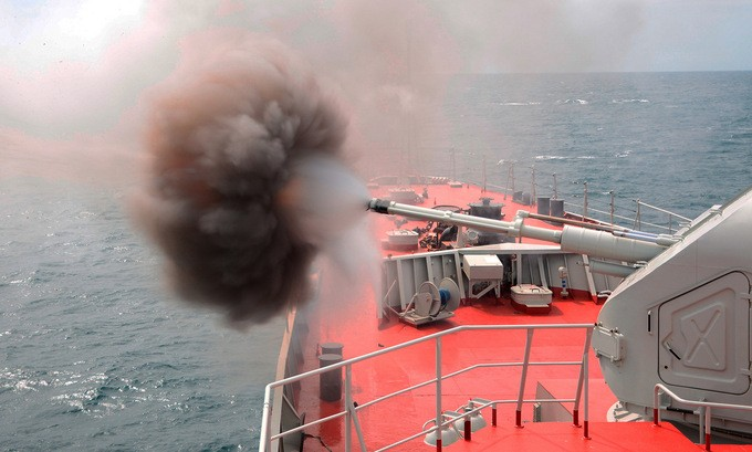 Vietnamese Warships Practice Shooting Artillery and Machine Guns in Army Games