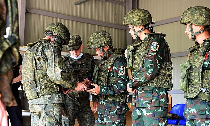 Members of the Vietnamese meridian team at the Army Games in Russia, August 29, 2021. Photo: People's Army newspaper