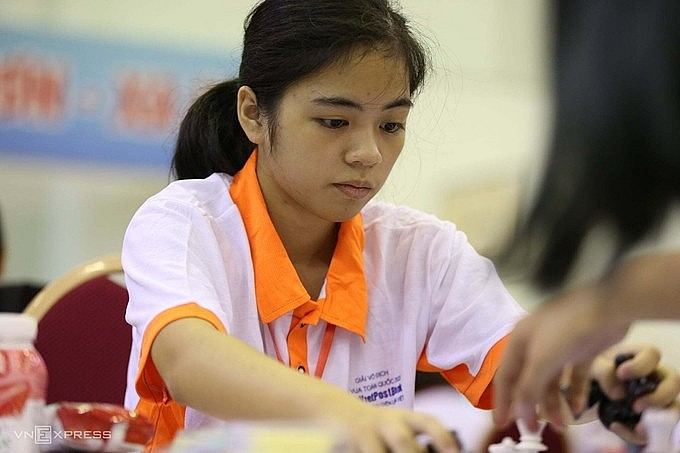 Nguyen Hong Nhung, the champion of FIDE Online Rapid World Cup & Cadets. Photo: VnExpress