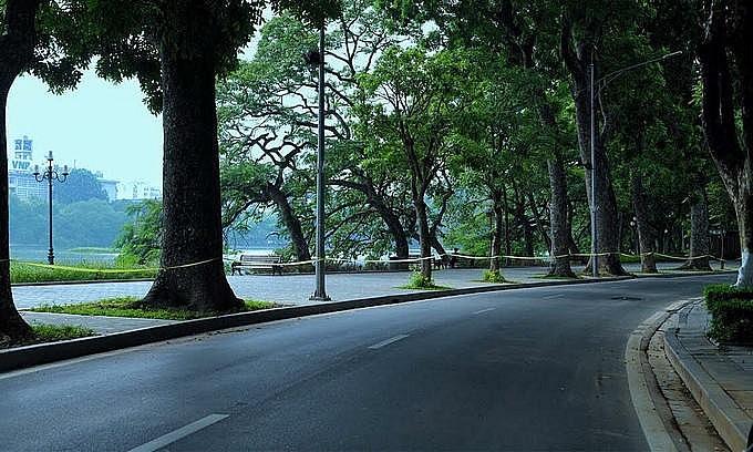 The area near the Sword Lake of Hanoi's Hoan Kiem District on the morning of September 2, 2021. Photo: VnExpress