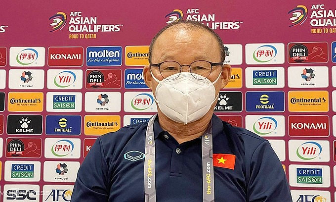 Coach Park Hang-seo in a press conference ahead of Vietnam and Saudi Arabia's World Cup qualifier, September 1, 2021. Photo: VnExpress