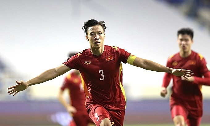 Que Ngoc Hai celebrates after scoring against Malaysia in a World Cup qualifiers game on June 11, 2021. Photo: VnExpress