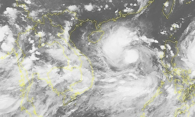 Satellite image of storm Conson on the South China Sea, September 9, 2021. Photo: National Center for Hydro-meteorological Forecasting